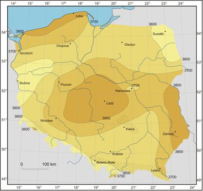 Rys. 9. Mapa rocznego promieniowania całkowitego na obszarze Polski [MJ/m2] na podstawie pomiarów IMIGW.(źródło: Barbara Bogdańsla, str 23, Atlas Klimatu Polski, pod red. H. Lorenc, Warszawa, 2005)