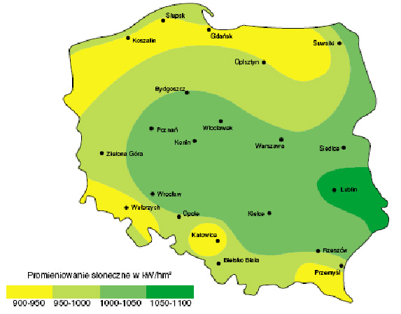 Rozkład promieniowania słonecznego w Polsce.