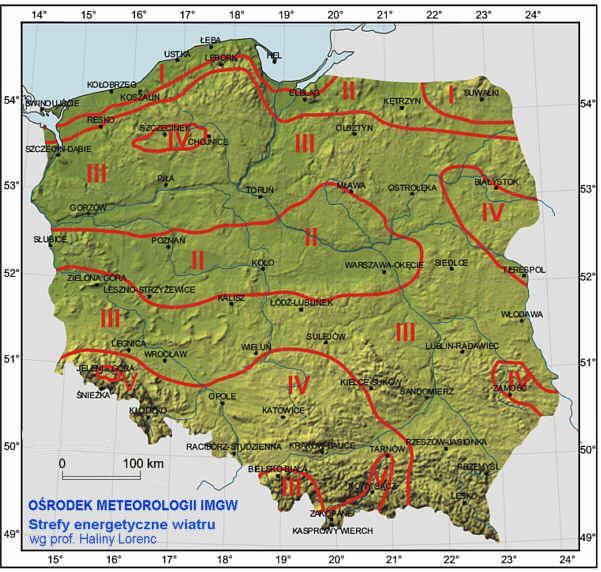 Rys.11.  Stefy wiatrowe w Polsce.